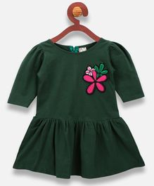 Lilpicks Couture Flower Patch Half Sleeves Dress - Green