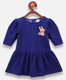 Lilpicks Couture Rabbit Patch Half Sleeves Dress - Blue