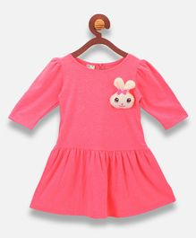 Lilpicks Couture Bunny Patch Half Sleeves Dress - Neon Pink