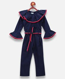 Lilpicks Couture Full Sleeves Solid Jumpsuit - Dark Blue