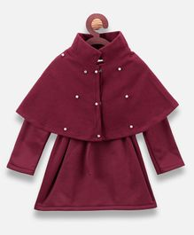 Lilpicks Couture Full Sleeves Pearl Detailed Shurg With Dress - Maroon