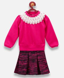 Lilpicks Couture Full Sleeves Top With Printed Skirt - Dark Pink