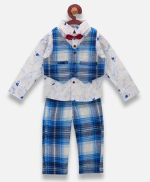Lilpicks Couture Shark Printed Full Sleeves Shirt With Waistcoat & Pants - Blue