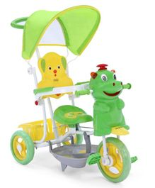 Babyhug Happy Hippo Tricycle With Canopy & Parental Push Bar - Green