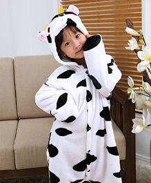 Pre Order - Awabox Cow Theme Full Sleeves Jumpsuit Costume - White