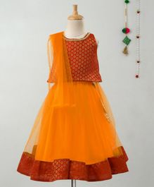 Many Frocks & Sleeveless Motif Print Choli With Latkan Decorated Lehenga & Dupatta - Red & Orange