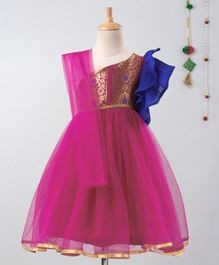 Many Frocks & Sleeveless One Shoulder Brocade Yoke Tulle Flare Gown - Pink