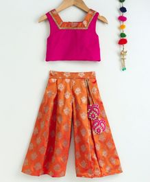 Many Frocks & Sleeveless Crop Top With Motif Print Palazzo - Pink & Orange