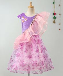 Many Frocks & Cap Sleeves Flower Decorated Choli With Printed Lehenga & Ruffled Dupatta - Purple & Pink