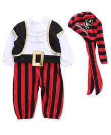 Pre Order - Awabox Long Sleeves Pirate Costume With Cap Set - Red