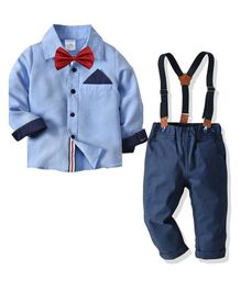 Pre Order - Awabox Full Sleeves Shirt With Suspender Pants & Contrast Bow Tie - Blue