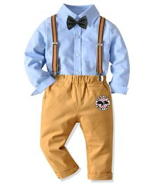 Pre Order - Awabox Full Sleeves Shirt With Suspender Pants & Bow Tie - Blue & Brown