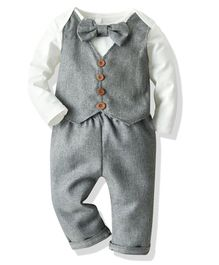 Pre Order - Awabox Full Sleeves Waistcoat Attached Onesie With Pants & Bow Tie - Grey