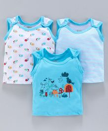 Ohms Sleeveless Vests Animal Print Pack of 3 - Blue