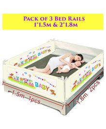 Syga Pack Of 3 Baby Bed Rail Cream - 1.8 m x 2 Pieces & 1.5 m x 1 Piece