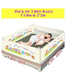 Syga Pack Of 3 Baby Bed Rail 2.0 m x 2 Pieces & 1.8 m x 1 Piece - Cream