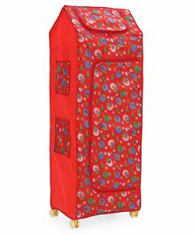Kids Zone 5 Shelves Folding Almirah star Print - Red