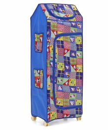 Kids Zone 5 Shelves Folding Almirah Hellow Kitty Print - Blue