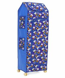 Kids Zone 5 Shelves Folding Almirah Bear and star Print - Blue