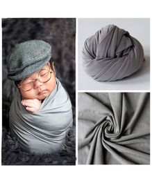 Babymoon Jersey Stretchble Swaddle Wrap New Born Baby Photography Shoot Props Costume - Grey