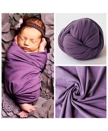 Babymoon Jersey Stretchble Swaddle Wrap New Born Baby Photography Shoot Props Costume - Purple