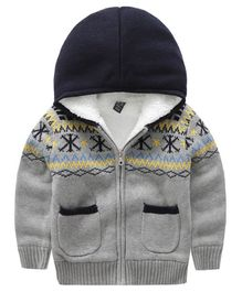 Pre Order - Awabox Embroidered Front Pocket Full Sleeves Hooded Jacket - Grey