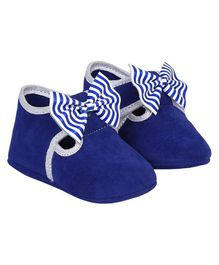DAXTEN Striped Bow Design Velcro Straps Booties - Blue