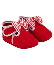 DAXTEN Striped Bow Design Velcro Straps Booties - Red
