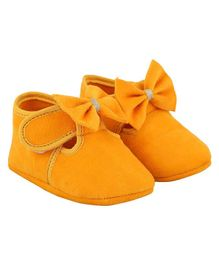 DAXTEN Bow Design Velcro Straps Booties - Yellow