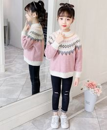 Pre Order - Awabox Dot Design Full Sleeves Sweater - Pink