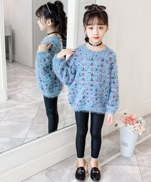 Pre Order - Awabox Embroidered Full Sleeves Sweater - Light Blue
