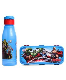Marvel Avengers Water Bottle & Pencil Box Combo Blue - 600 ml
