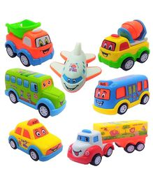 FunBlast Friction Powered Pull Back Vehicles Set of 7 - Multicolour