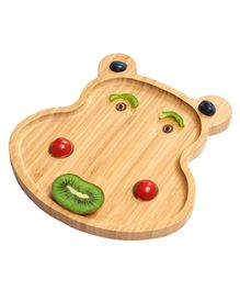 Wufiy Wooden Baby Weaning Feeding Set with 4 Spoon - Hippo Shaped Plate