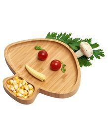 Wufiy Wooden Baby Weaning Feeding Set with 4 Spoon - Mushroom Shaped Plate