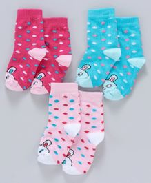 Cute Walk by Babyhug Anti Bacterial Ankle Length Non Terry Socks Pack of 3 - Blue White Pink