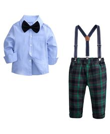 Pre Order - Awabox Solid Full Sleeves Shirt With Bow Pants & Strap Set  - Blue