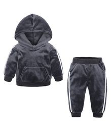 Pre Order - Awabox Side Tape Full Sleeves Hoodie With Bottom - Grey