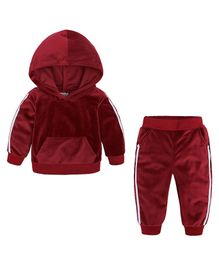 Pre Order - Awabox Side Tape Full Sleeves Hoodie With Bottom - Red