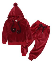 Pre Order - Awabox Solid Full Sleeves Hoodie With Bottom - Red