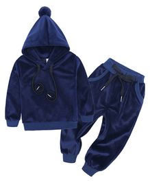 Pre Order - Awabox Solid Full Sleeves Hoodie With Bottom - Blue