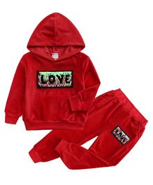 Pre Order - Awabox Love Patch Full Sleeves Hoodie With Bottom - Red