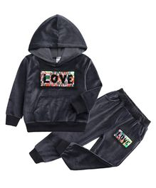 Pre Order - Awabox Love Patch Full Sleeves Hoodie With Bottom - Grey