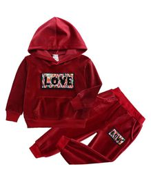Pre Order - Awabox Love Patch Full Sleeves Hoodie With Bottom - Maroon