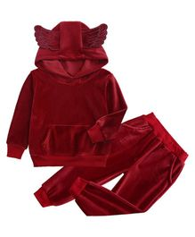 Pre Order - Awabox Solid Full Sleeves Hoodie With Bottom - Maroon