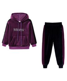 Pre Order - Awabox Printed Full Sleeves Hoodie With Bottom - Purple