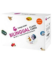 Hungry Brain Bilingual Fruits Animals Trasports Theme Combo Flash Cards - Kannada & English
