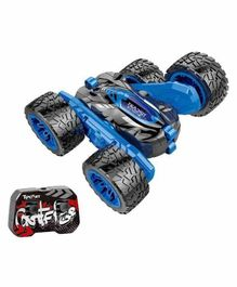 Planet of Toys RC Rechargeable Climbing Flip Stunt Drift Buggy Roll Double Sided Off Road Car Truck With 2.4GHz 4CH 360 Degree Rotating - Blue