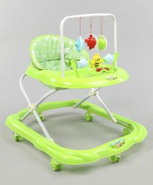 Baby Walker With Attached Hanging Toy  - Green