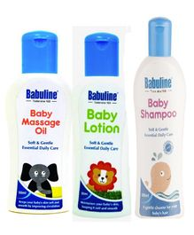 Babuline Baby Massage Oil Baby Lotion Baby Shampoo - Pack Of 3